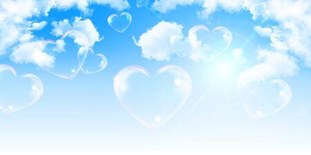 Illustration pour Heart valentine sky cloud background - image libre de droit