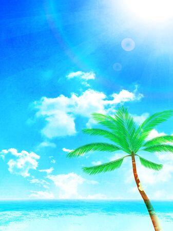 Illustration pour Palm sea summer Sky background - image libre de droit