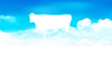 Illustration pour Cow New Year's card Zodiac background - image libre de droit