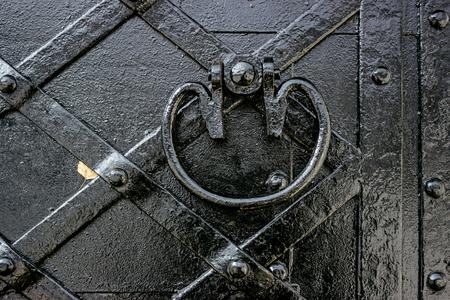 Photo pour Fragment of the old door fettered iron - image libre de droit