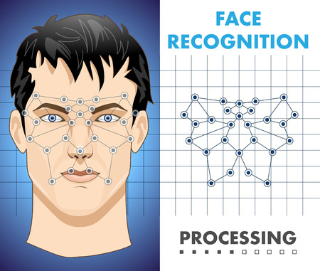 Illustration for Face recognition - biometric security system - Royalty Free Image