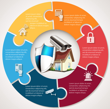 House with protection shield and CCTV - home security concept