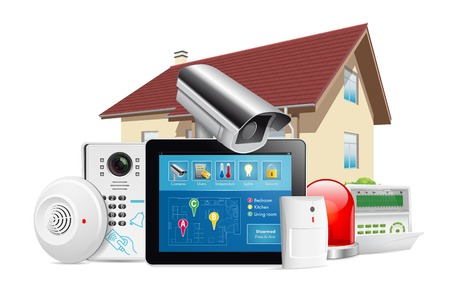 Illustration for Home security system concept - motion detector, gas sensor, cctv camera, alarm siren - Royalty Free Image