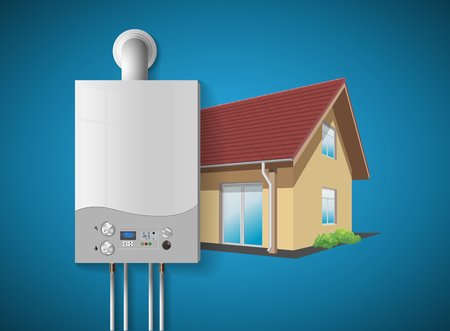 Illustration pour House heating concept - modern home gas fired boiler - energy and cash savings. - image libre de droit