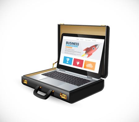 Illustration pour Business suitcase - finance concept - lbusinessman laptop and website - image libre de droit
