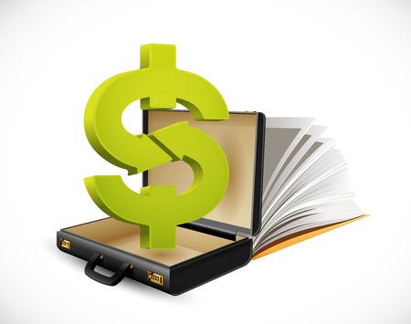 Illustration for Business suitcase - finance concept - Dollar sign inside businessman briefcase - Royalty Free Image
