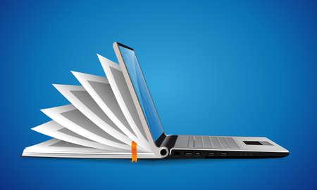 Illustration pour Computer as book knowledge base concept - laptop as elearning idea - image libre de droit