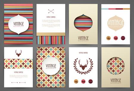 Illustration for Set of brochures in vintage style. Vector design templates. Vintage frames and backgrounds. - Royalty Free Image