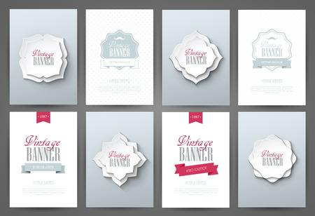 Illustration pour Set of brochures in vintage style. Vector design templates. Vintage frames and backgrounds. - image libre de droit