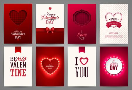 Illustration for Valentines day backgrounds set. - Royalty Free Image