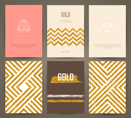 Illustration for Set of brochures with hand drawn design elements. Vector templates. Trendy backgrounds, patterns and textures. - Royalty Free Image