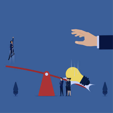 Illustration pour Business flat vector concept man bounced off the seesaw because dropped idea metaphor of idea value. - image libre de droit
