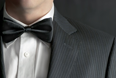 A close-up shot of a man wearing a tux.
