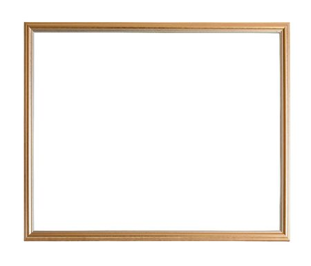 Modern thin gold picture frame, isolated