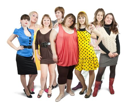 Isolated full length view of group of girls