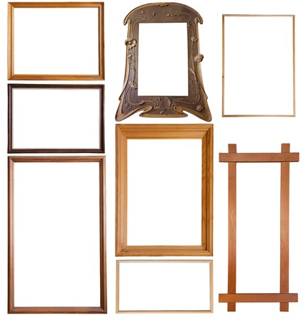 Set of 9 wooden picture frames