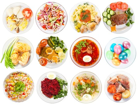 Photo pour Set of 12 plate with tasty food. Isolated over white background - image libre de droit