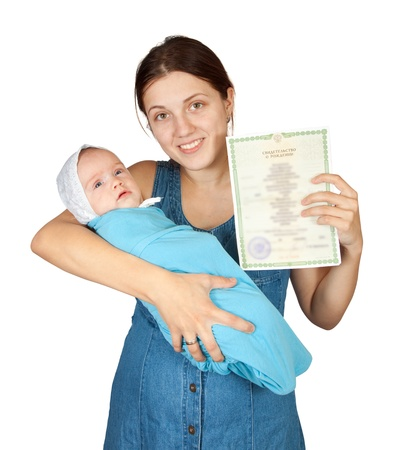 Happy mother with  baby and with certificate of birth. Isolated over white background