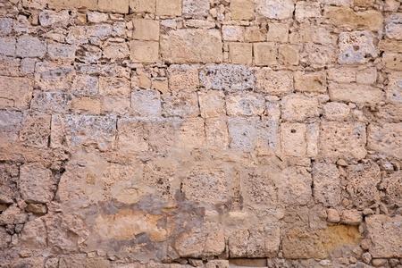 Ancient stone wall texture.  Walls of times of knights. Malta