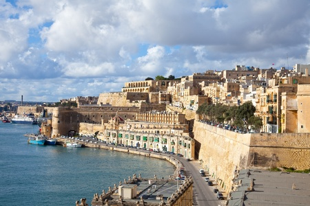 View of old Valletta and Grand Harbour. Malta