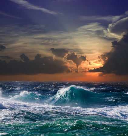 Mediterranean wave during storm in sunset time