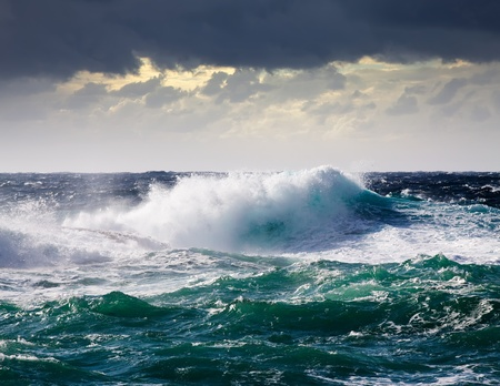 High sea wave during storm at  Mediterranean area