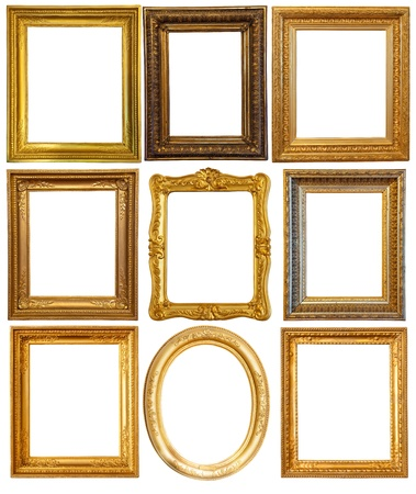 Set of few Luxury gilded frames. Isolated over white background with clipping path