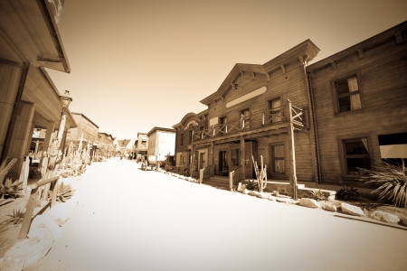 Wide angle vintage photo of Far west town