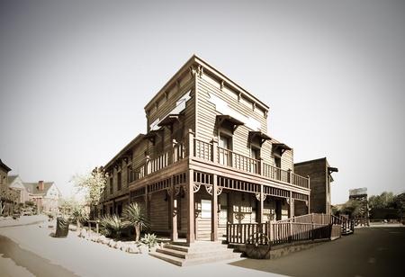 Retro photo of Wild west town