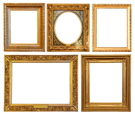 Set of few gold picture frames. Isolated over white background with clipping path