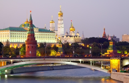 View of Moscow Kremlin in dusk. Russia