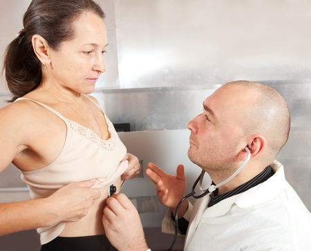 Doctor listening  the patient with  stethoscope in clinic