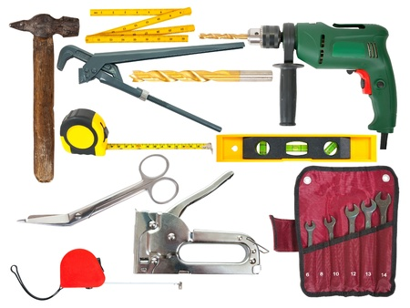 set of working tools over white background with clipping path