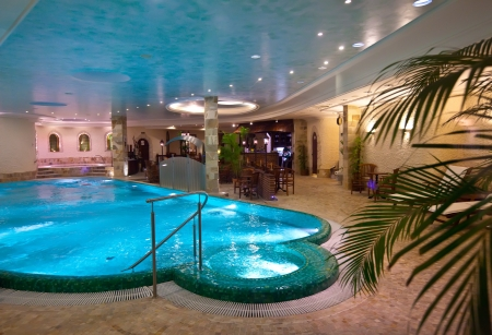 Luxury swimming pool in spa hotel