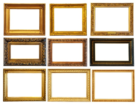 Set of few horizontally gold frames. Isolated over white background with clipping path