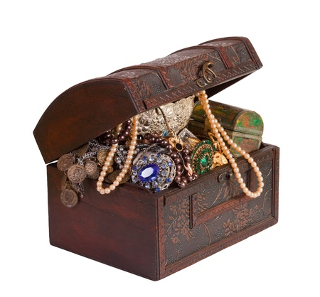 Wooden treasure trunk with jewellery