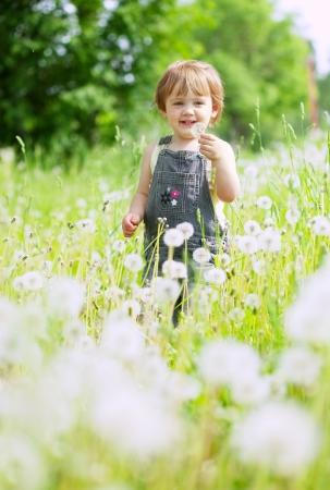 Foto de Two-year baby girl in summer dandelion plant - Imagen libre de derechos