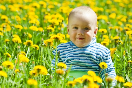 Photo pour happy baby sitting in flowers meadow - image libre de droit