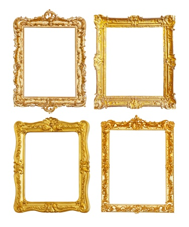 Set of few old gold picture frames. Isolated on white background.  Clipping path included