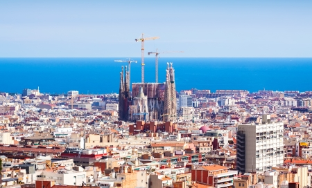 Top view of Barcelona with Basilica and Expiatory Church of the Holy Family from high point. Spain