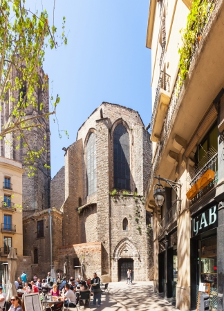 BARCELONA, SPAIN - APRIL 14: Santa Maria del Pi in April 14, 2013 in Barcelona, Spain. It is a 14th century Gothic church at Barri Gotic district