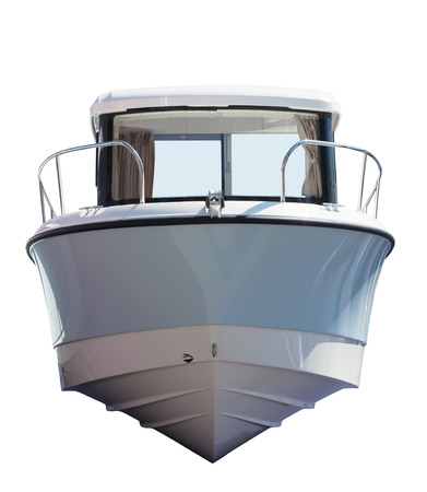 Front view of motor boat. Isolated over white background