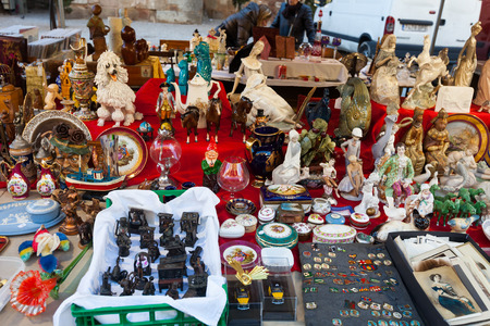 BARCELONA, SPAIN - FEBRUARY 20, 2014: Old ceramic things at flea market at square before   Cathedral