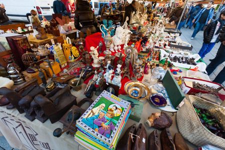 BARCELONA, SPAIN - FEBRUARY 20, 2014: Old things at flea market at square before Catedral de Barcelona
