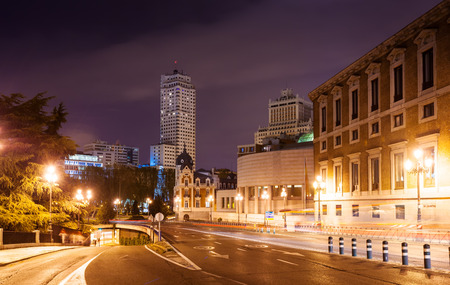 Bailen street and Spain Square in night.  Madrid, Spain