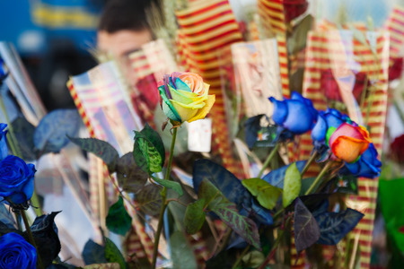 Roses for sale on street in Sant Jordi