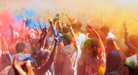BARCELONA, SPAIN - APRIL 6, 2014: Crowd at Festival Holi in Barcelona. It is traditional holiday of Indian Culture