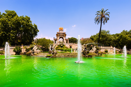 Cascada fountain in Barcelona in sunny day. Catalonia, Spain