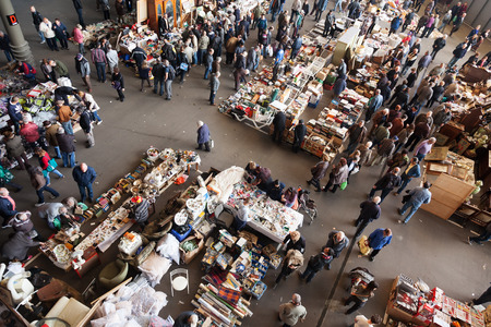 BARCELONA, SPAIN - MARCH 10, 2014: Top view of Mercat de Encants flea market in Barcelona, Spain.
