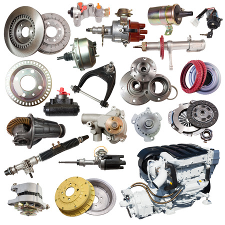 Set of motor and spare parts. Isolated on white background